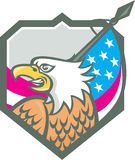 American Bald Eagle Flag Spear Retro Royalty Free Stock Photo