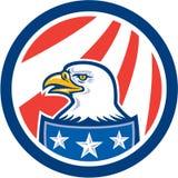 American Bald Eagle Head Flag Circle Retro Royalty Free Stock Photo
