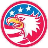 American Bald Eagle Head Flag Circle Retro Stock Image