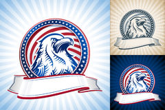 American Bald Eagle Natioal Symbol USA Independence Day Head Set. American eagle with flag of USA in round shape and ribbon. The Symbol of Independence Day Royalty Free Stock Photo