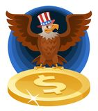 American Bald eagle in the patriotic hat spread wings over the s Stock Photo