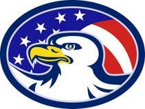 American Bald Eagle Stars Stripes Flag. Illustration of an american bald eagle head with stars and stripes flag set inside ellipse Royalty Free Stock Image