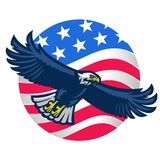American bald eagle with united states flag as background royalty free illustration