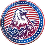 American Bald Eagle USA Natioal Symbol Fourth July Emblem Head. The American Bald Eagle with stars and stripes as a symbol of the Independence Day of the US on Stock Images