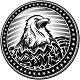 American Bald Eagle USA Natioal Symbol Independence Day Emblem. The American Bald Eagle with stars and stripes as a symbol of the Independence Day of the US on Royalty Free Stock Image