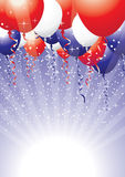 American balloons. Red white and blue balloons with ribbons and sparkles Stock Image