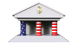 American Bank Building Concept 3d Illustration isolated on a whi. Te background and the colors of the american flag on the pillars of the building Stock Photos