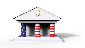 American Bank Building Concept 3D Illustration with white backgr. Ound and the colors of the american flag Royalty Free Stock Images