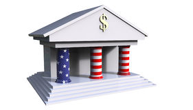 American Bank Building 3d illustration with the colors of the am. Erican flag isolated on a white background Royalty Free Stock Images