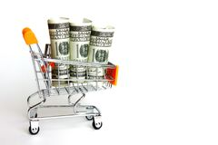 American bank note in rool pattern on small trolley. American money circulated world wild. money for payment,seaving, legal. Repayment, top, view royalty free stock photo