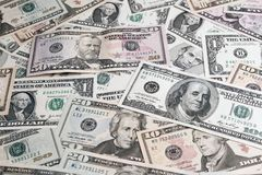 American banknotes. Closeup of assorted American banknotes Stock Photography