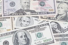 American banknotes. Closeup of assorted American banknotes Stock Photo