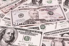 American banknotes. Closeup of assorted American banknotes Royalty Free Stock Photography