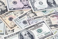 American banknotes. Closeup of assorted American banknotes Royalty Free Stock Images