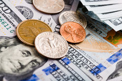American banknotes and coins Stock Photography
