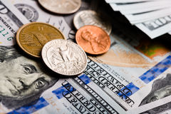 American banknotes and coins Stock Photos