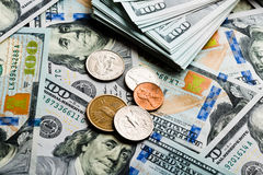 American banknotes and coins Stock Image