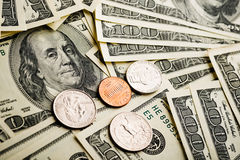 American banknotes and coins Stock Photo
