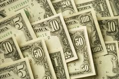 American banknotes of various cash denominations Royalty Free Stock Photography