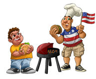 American barbecue. Fat guy eating a hamburger with usa shirt and flag Stock Photos