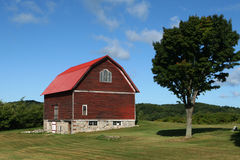 American Barn. With vibrant red roof and stone foundation in front of apple orchard West Michigan blue sky stock images