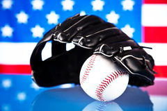 American baseball. American flag and baseball glove royalty free stock photography