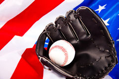 American baseball. American flag and baseball glove royalty free stock image