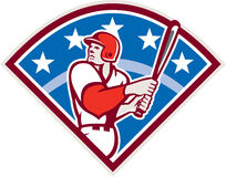 American Baseball Batter Hitter Bat Diamond Retro Royalty Free Stock Photography