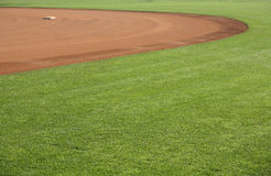 American baseball field 2. American baseball or softball in-field with one base Stock Photos