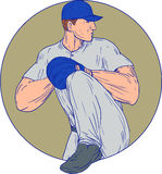 American Baseball Pitcher Throw Ball Circle Drawing. Drawing sketch style illustration of an american baseball player pitcher outfilelder about to throw a ball Royalty Free Stock Image