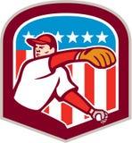 American Baseball Pitcher Throw Ball Shield Cartoon Royalty Free Stock Image