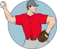 American Baseball Pitcher Throwing Ball Circle Drawing. Drawing sketch style illustration of an american baseball player pitcher outfilelder throwing ball viewed Royalty Free Stock Photo