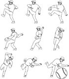 American Baseball Pitcher Throwing Ball Complete Set. Collection set of illustrations of an american baseball player pitcher outfilelder in a throwing ball Royalty Free Stock Image