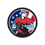 American Baseball Pitcher USA Flag Icon Stock Photos