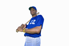 american baseball player with baseball bat, cut out Stock Images