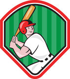 American Baseball Player Bat Diamond Cartoon Royalty Free Stock Photo