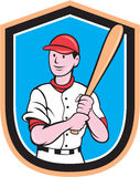 American Baseball Player Bat Shield Cartoon Stock Images