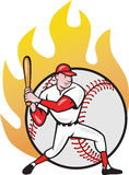 American Baseball Player Batting Ball. Illustration of a american baseball player batting cartoon style isolated on white with ball on fire in background Royalty Free Stock Image