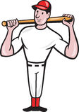 American Baseball Player Batting Cartoon. Illustration of a american baseball player batting bat on shoulder cartoon style isolated on white background Stock Image