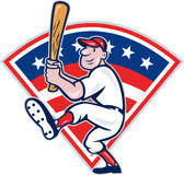 American Baseball Player Batting Cartoon Royalty Free Stock Photos