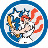 American Baseball Player Batting Circle Cartoon. Illustration of an american baseball player batting set inside circle with stars and stripes in the background Stock Photos