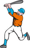 American Baseball Player Batting Homer Cartoon. Illustration of an american baseball player holding bat batting homer home run set  on  white background done in Royalty Free Stock Photography