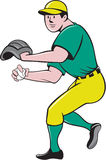 American Baseball Player OutFielder Throwing Ball Cartoon Royalty Free Stock Images