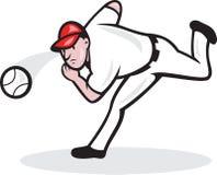 American Baseball Player Pitcher. Illustration of a american baseball player pitcher throwing ball cartoon style isolated on white background Royalty Free Stock Image