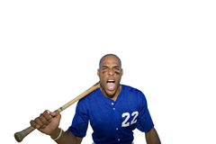 american baseball player shouting and holding bat, cut out Stock Photography