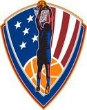 American Basketball Player Dunk Ball Shield Retro Stock Photography