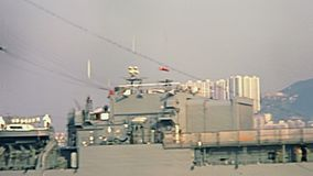 American battleship Flag Hong Kong stock footage