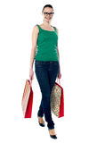 American beauty holding shopping bags Stock Photos