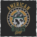 American Bikers Gang Poster. Design with skull in motorcycle helmet or bandanna vector illustration Stock Photography