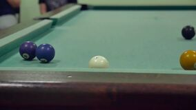 American billiards pool 8. Old the pool billiards hit balls indoors in striped slow motion video. American billiards pool 8. Old pool billiards hit balls indoors stock video footage